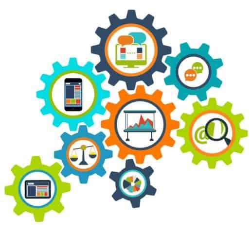 consulenza comunicazione icone ingranaggi