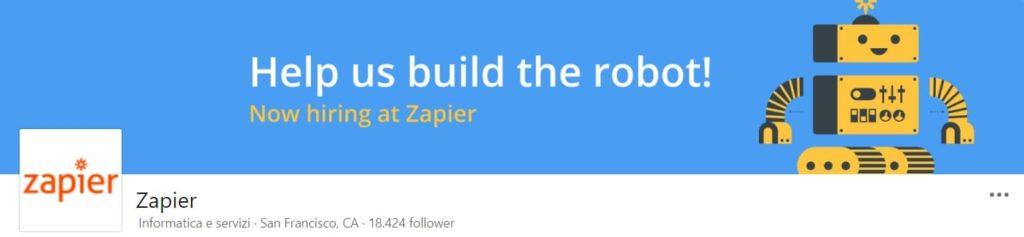 copertina pagina linkedin zapier