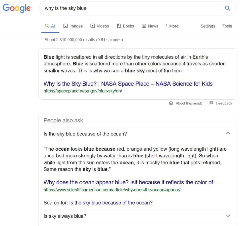 esempio snippet in primo piano google