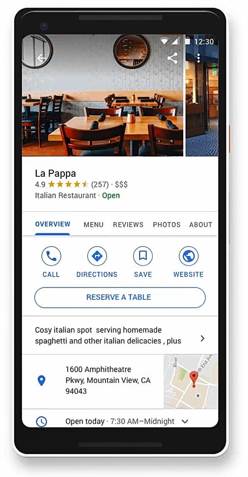 google my business prenota tavolo