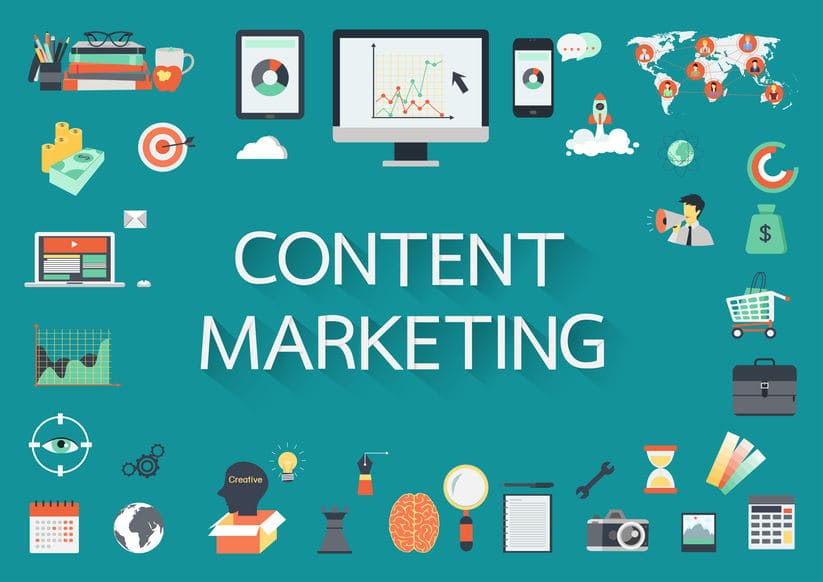 content marketing scritta blu