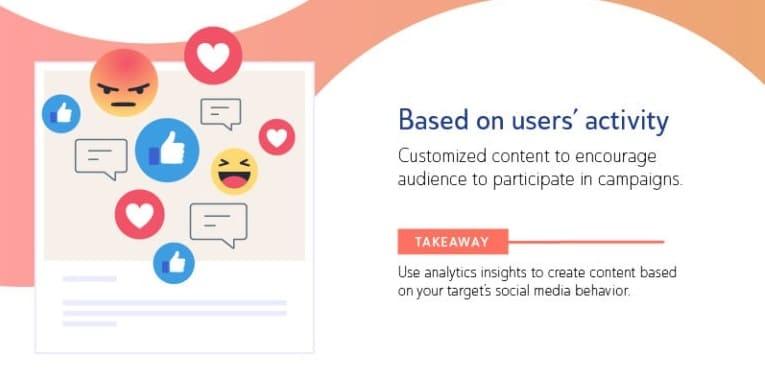 contenuti social basati sulle attività degli utenti