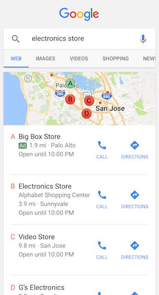 google ads ricerca locale
