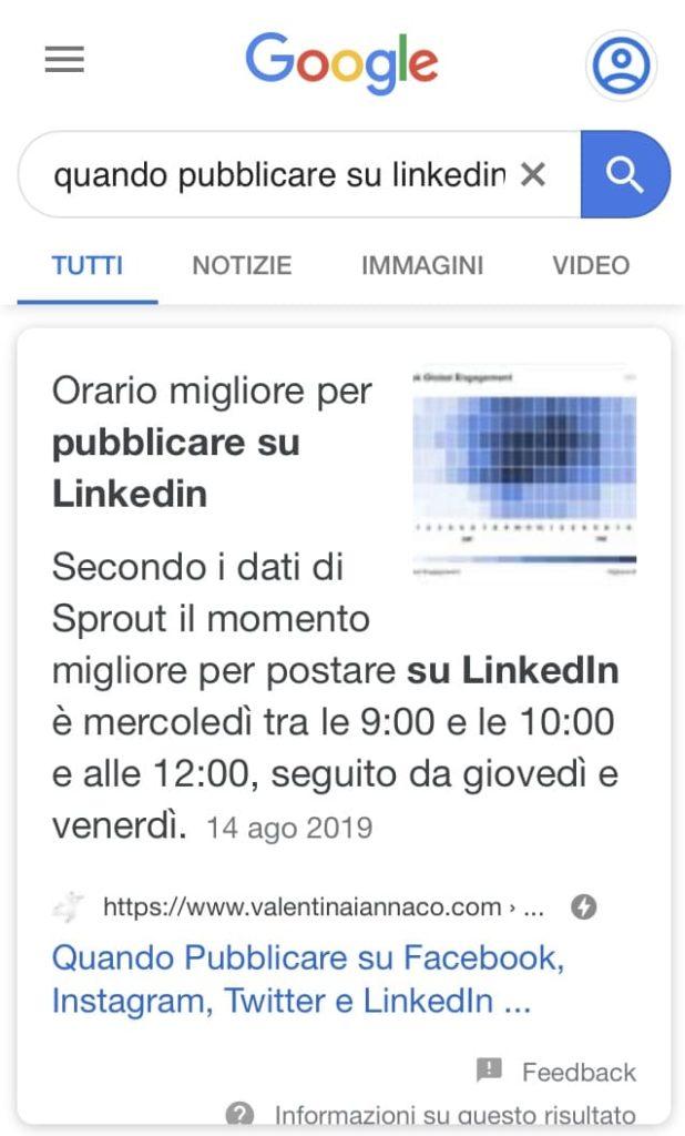 esempio featured snippet google