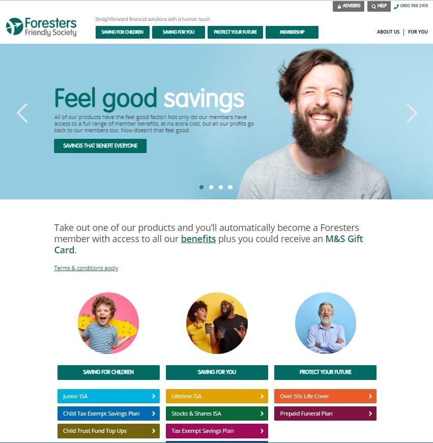 home page sito Foresters Friendly Society