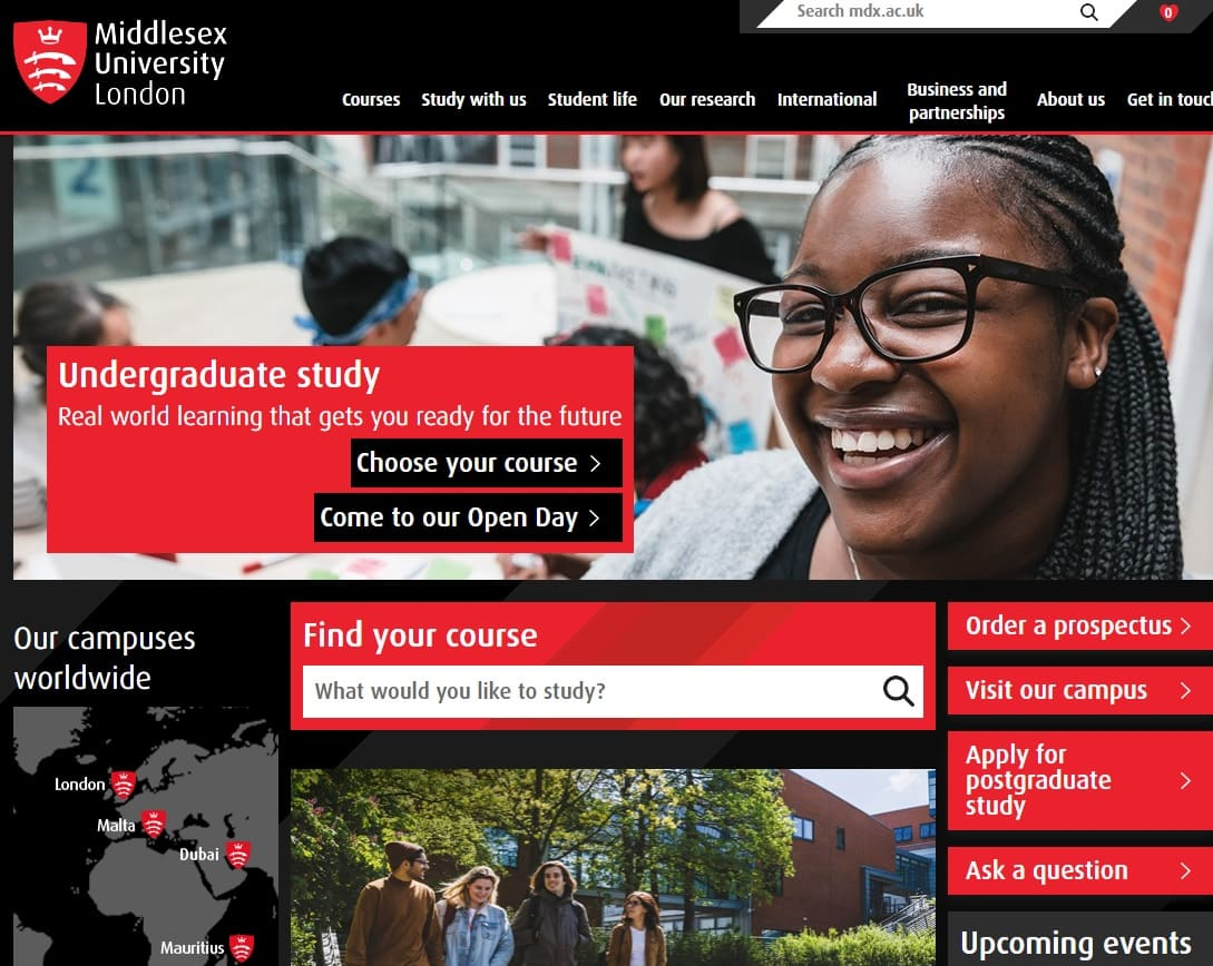 home page sito Middlesex University London
