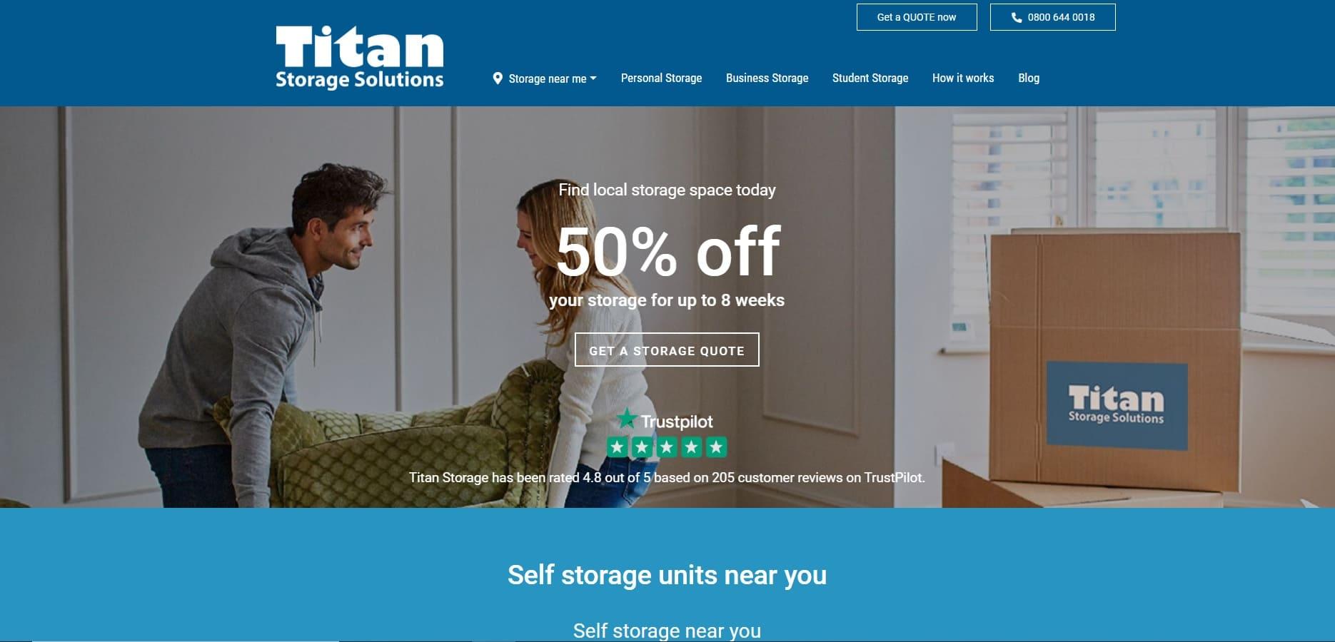 home page sito Titan Storage Solutions