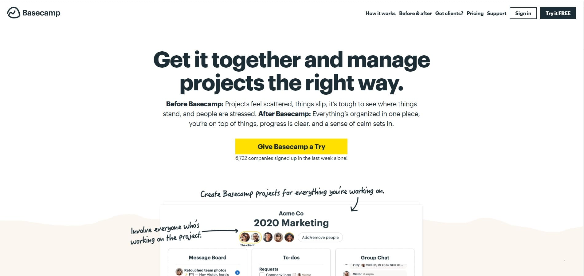 home page sito basecamp
