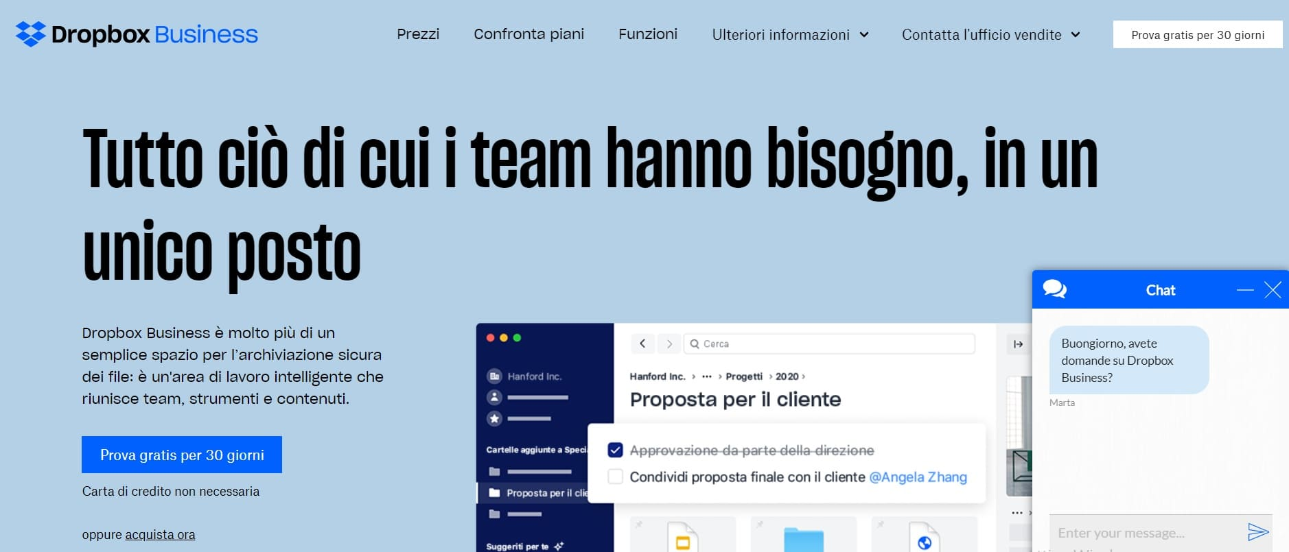 home page sito dropbox business