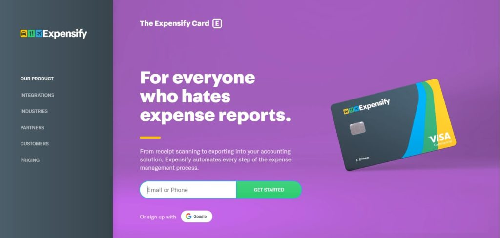 home page sito expensify