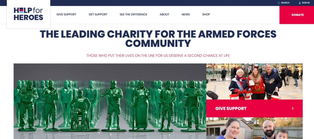 home page sito help for heroes