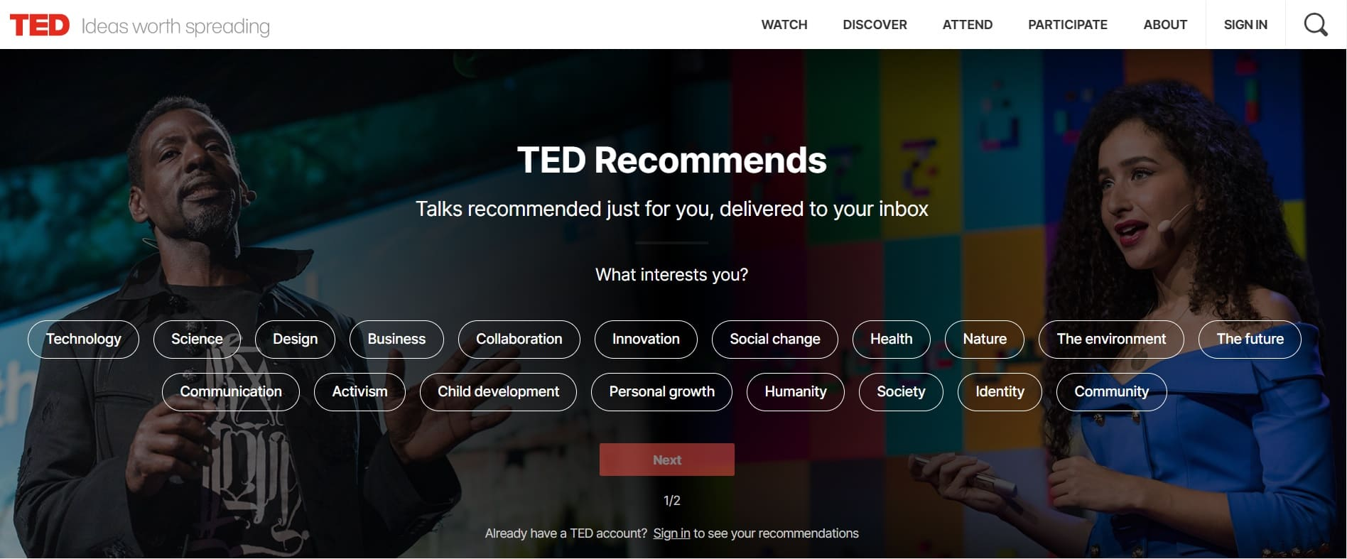 home page sito ted