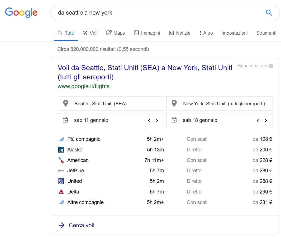 ricerca voli google