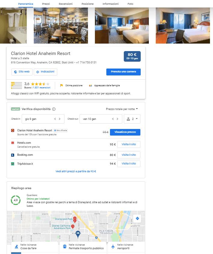 esempio scheda google hotel