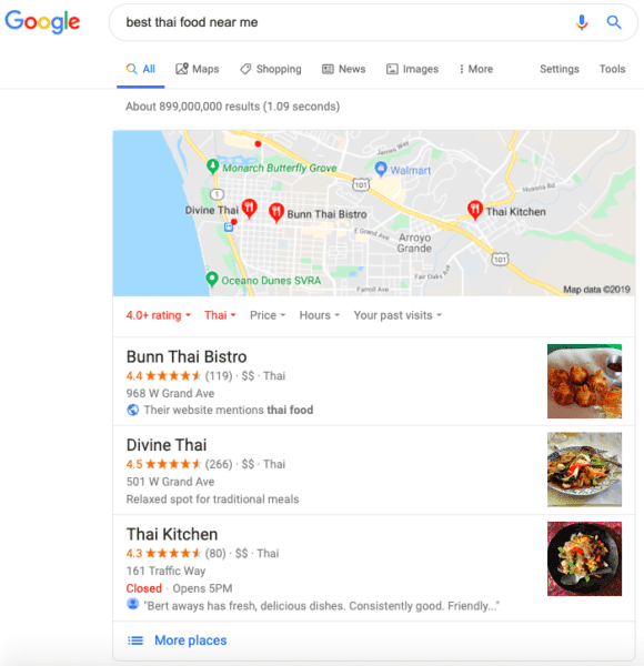 google local pack ristoranti