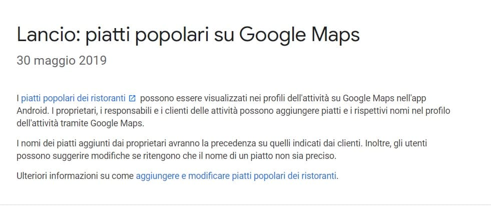 piatti popolari google maps
