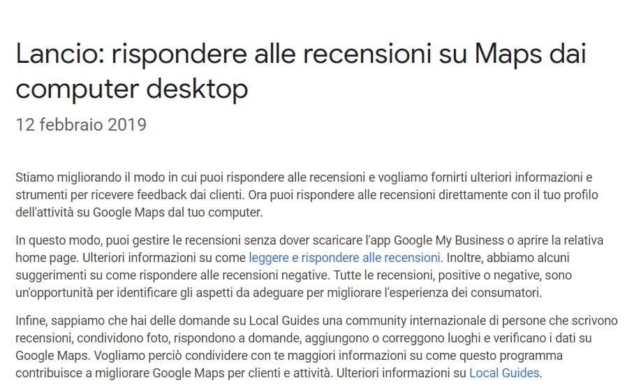 risposta recensioni google my business