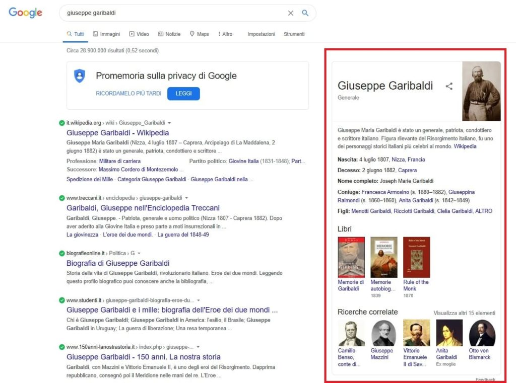 esempio knowledge graph google