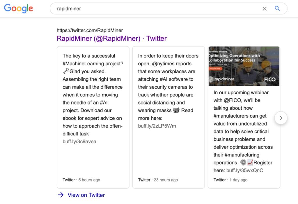 rapidminer twitter