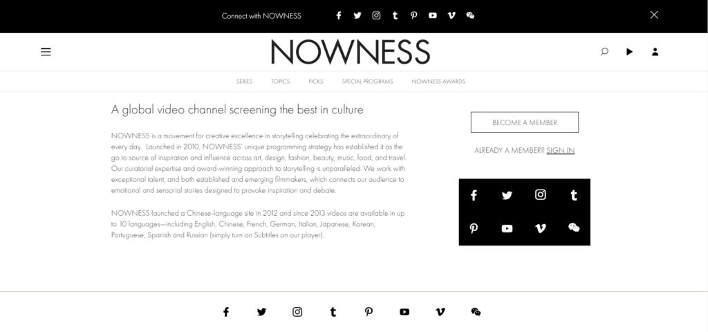 pagina chi siamo NOWNESS