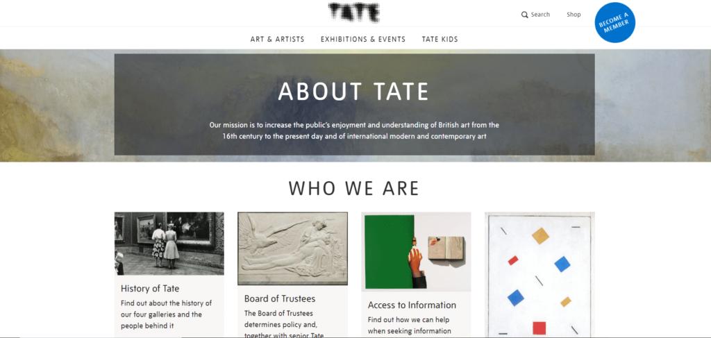 pagina chi siamo Tate