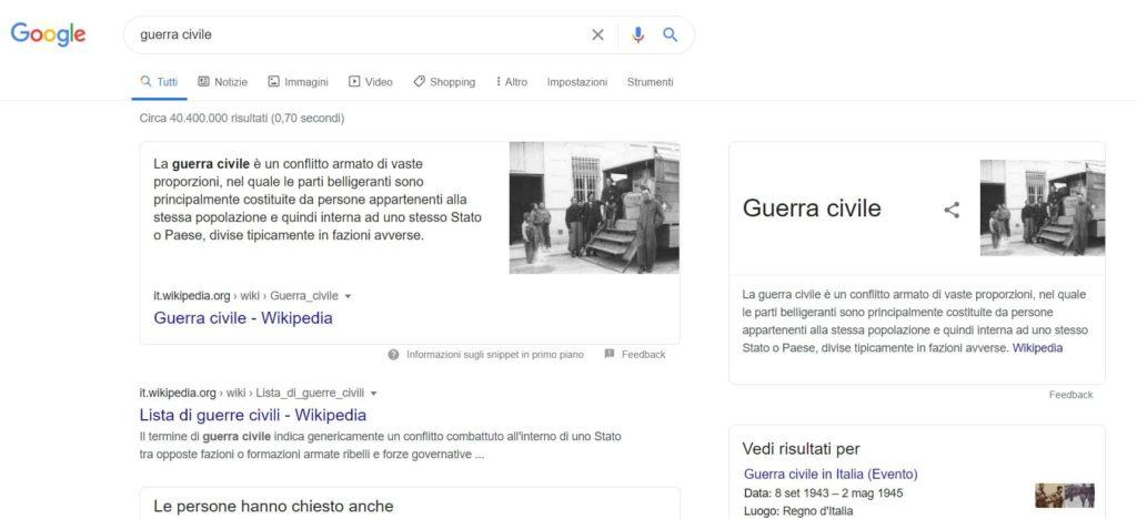ricerca google guerra civile