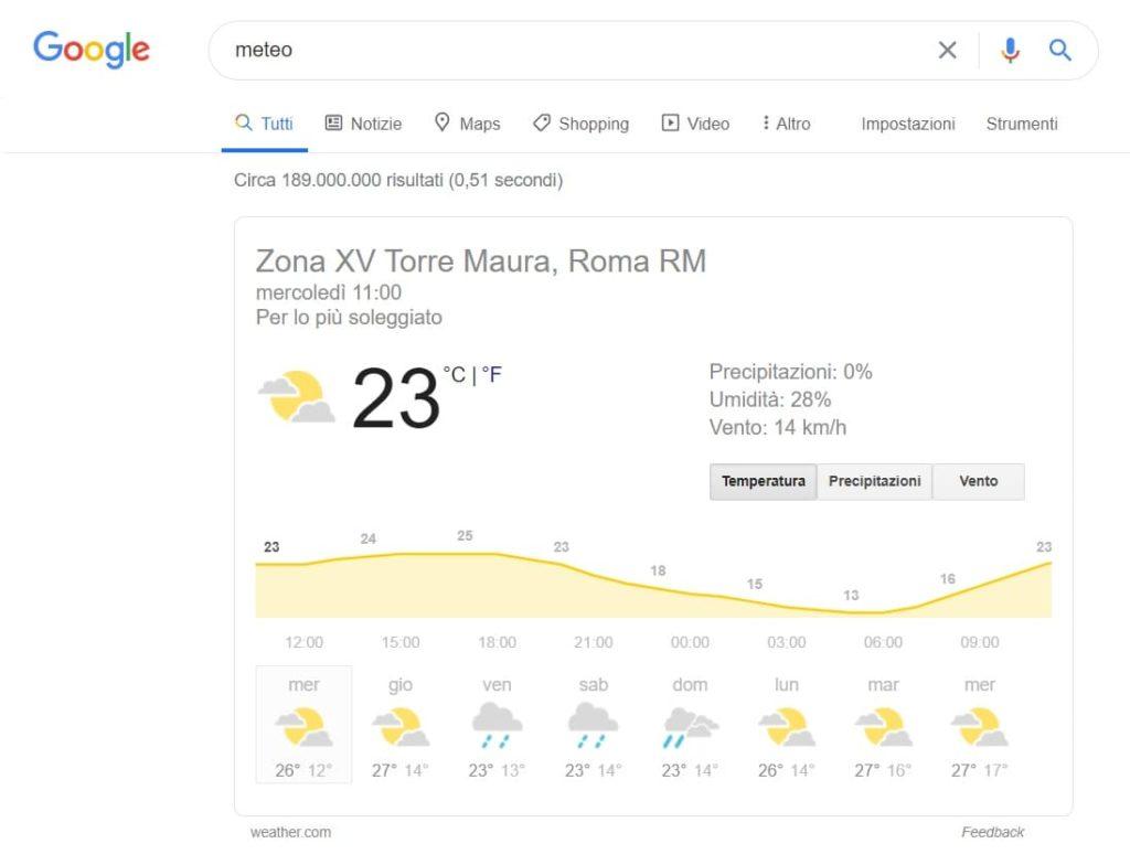 ricerca google per meteo