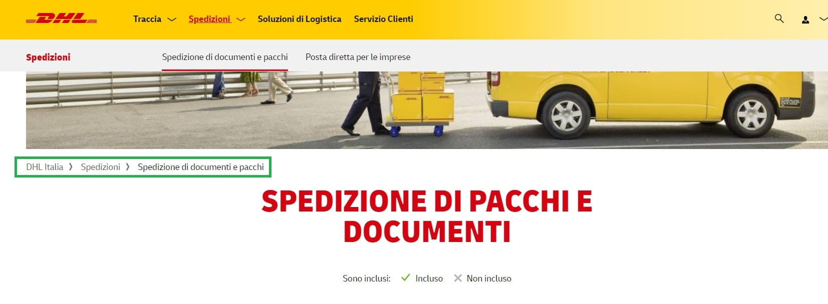 breadcrumbs sito dhl